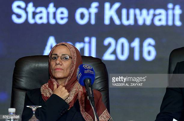 Yemeni leader of the Yemeni society Nabilah Mohsen Ali AlZubair attends a press conference at Kuwait's information ministry in Kuwait City on May 8...