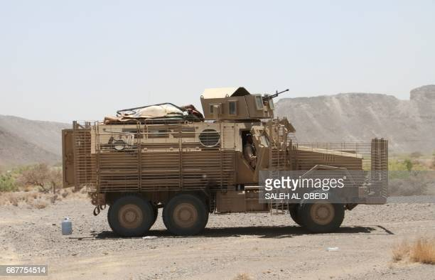 A Yemeni loyalist forces' armed vehicle patrols outside the west of the Yemeni coastal port town of Mokha on April 12 2017 Clashes have raged as...