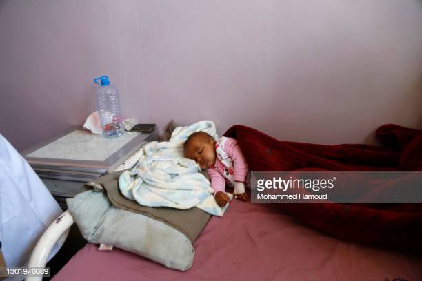 Yemeni malnourished child is seen at the malnutrition department in the al-Sabeen hospital, where he receives treatment, on February 13 in Sana'a....