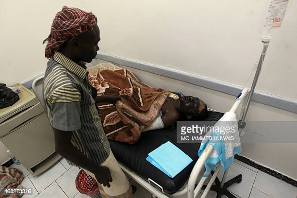 Yemeni man receives treatment on April 1 at the burn unit of a hospital in Yemeni capital of Sanaa following a reported airstrike by the Saudiled...