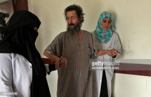 A Yemeni man suspected of being infected with cholera receive treatment at a hospital in the capital Sanaa on July 24 2018