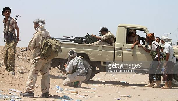Yemeni members of the southern separatist movement loyal to President Abedrabbo Mansour Hadi keep position in Aden's suburbs on June 3 2015 The...