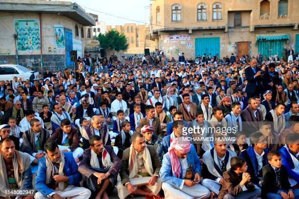 Yemeni Muslim worshippers perform Eid al-Fitr prayers at a square in the capital Sanaa on June 5 marking the end of the fasting month of Ramadan.