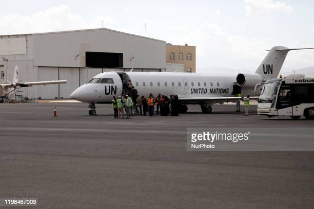 Yemeni patient ride a UN-plane to travel for treatment outside Yemen, at the Sana'a Airport in Sana'a on February 03, 2020. Seven Yemeni patients,...