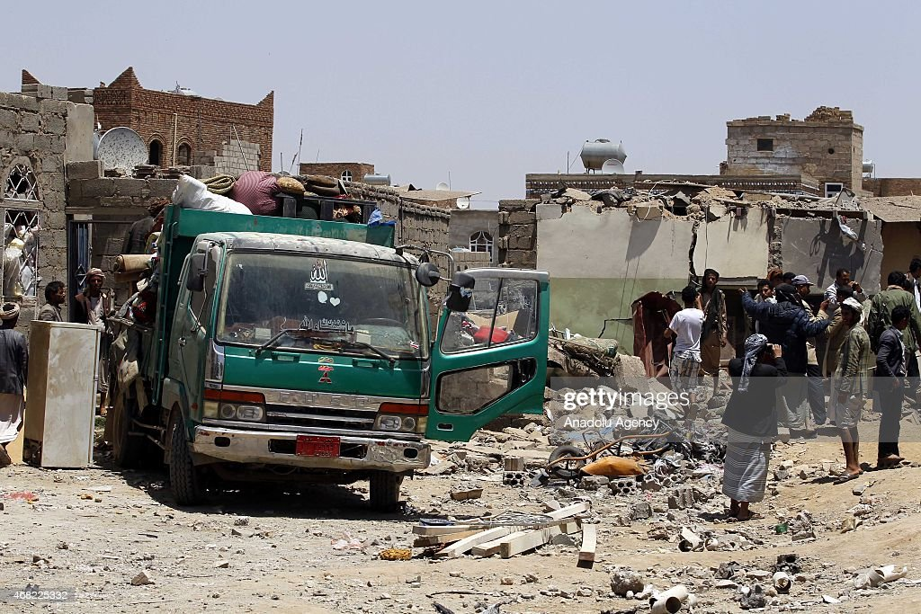 Buildings collapsed after Saudi-led coalition 'Decisive Storm' operation in Yemen : News Photo