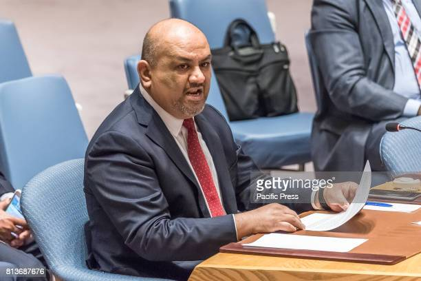 Yemeni Permanent Representative to the UN Ambassador Khaled Hussein AlYamani is seen during a meeting of the United Nations Security Council...