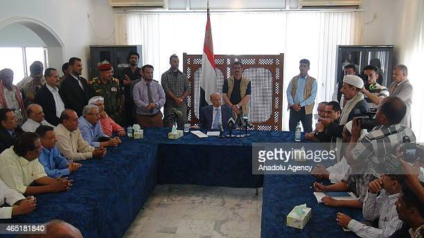 Yemeni President Abd Rabbuh Mansur Hadi meets with the tribe delegations from Abyan and Lahij cities within 'reconciliation talks' in Aden Yemen on...