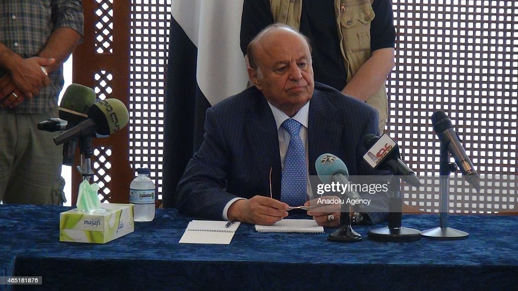 Yemeni President Mansur Hadi meets tribe members in Aden : News Photo