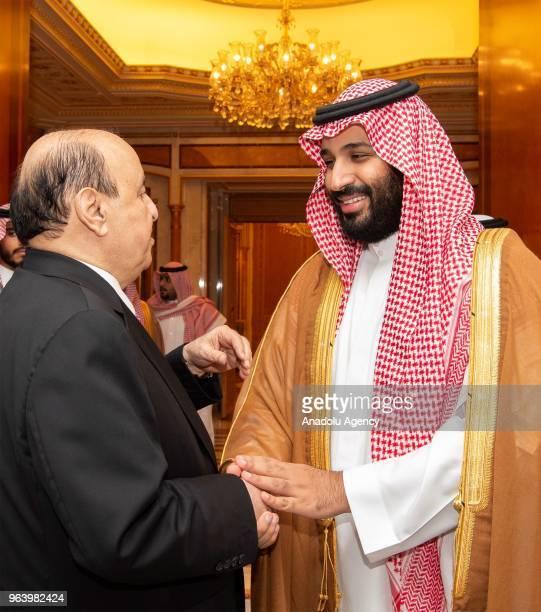 Yemeni President Abdrabbuh Mansur Hadi is welcomed by Saudi Arabian Crown Prince Mohammed bin Salman Al Saud ahead of their meeting in Jeddah Saudi...