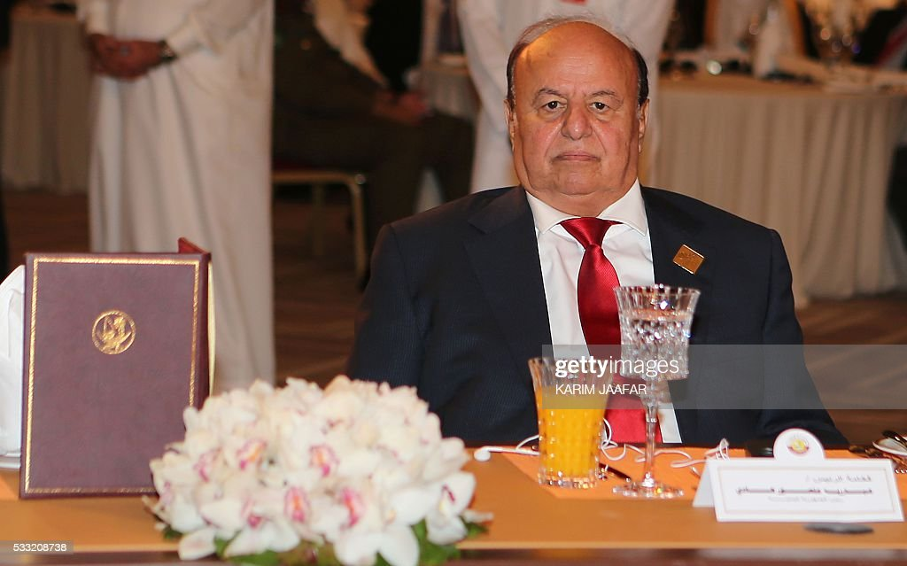 Yemeni President Abedrabbo Mansour Hadi attends the 16th Doha Forum in the Qatari capital Doha on May 21, 2016. / AFP / KARIM JAAFAR / Qatar OUT
