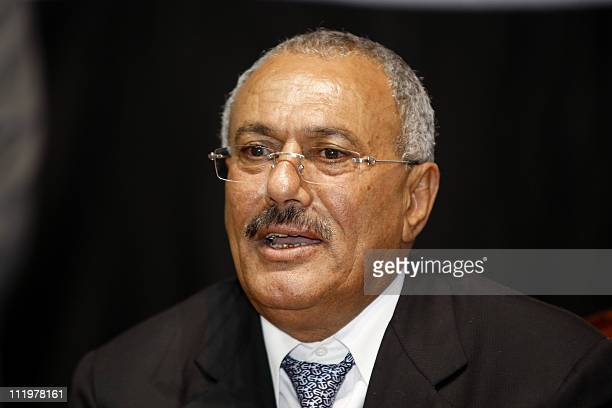 Yemeni President Ali Abdullah Saleh addresses a gathering of supporters in Sanaa on February 20 2011 Pro and antiSaleh demonstrators have clashed...