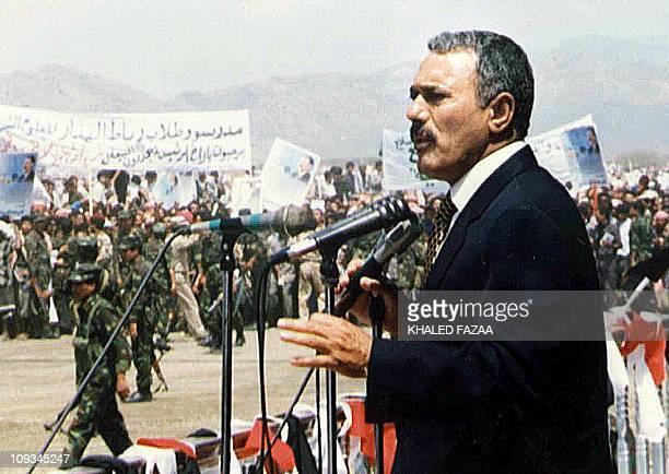 Yemeni President Ali Abdullah Saleh addresses supporters in Ta'izz 170 kms south of the Yemeni capital Sanaa 09 September 1999 Saleh who is...