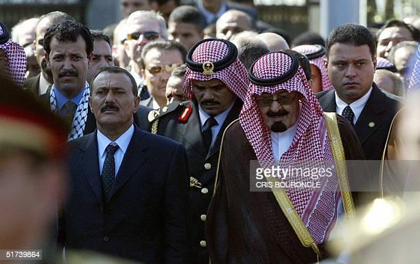 Yemeni President Ali Abdullah Saleh and Saudi Crown Prince Abdullah bin Abdul Aziz follow the funeral cortege of Palestinian leader Yasser Arafat as...
