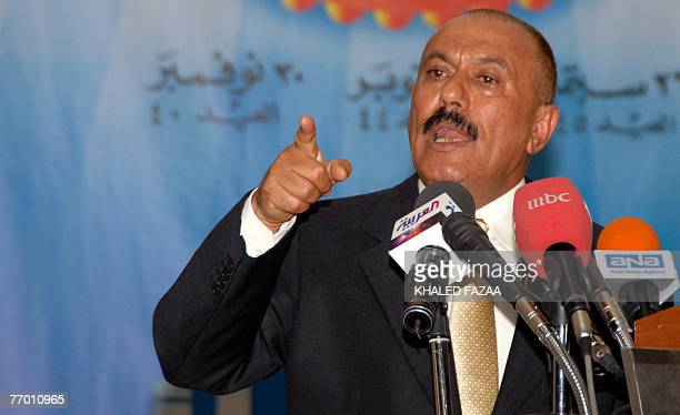 Yemeni President Ali Abdullah Saleh gestures as he delivers a speech at the Army college in Saana 25 September 20 marking the 45th anniversary of the...