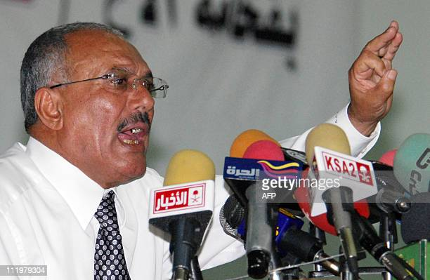 Yemeni President Ali Abdullah Saleh gestures during a speech during which he accused Israel and the United States of fomenting antiregime uprisings...