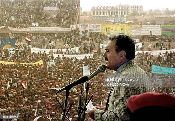 Yemeni President Ali Abdullah Saleh gives a speech during a mass rally in the city of Dhamar 100 kilometers south of the capital Sanaa 20 September...
