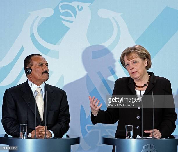 Yemeni President Ali Abdullah Saleh listens Chancellor Angela Merkel during her speech at the Chancellery on February 27 2008 in Berlin Germany Saleh...