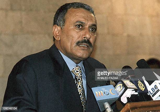 Yemeni President Ali Abdullah Saleh listens to a question at a press conference held in Sanaa 26 September 1999 after he was declared winner with 963...