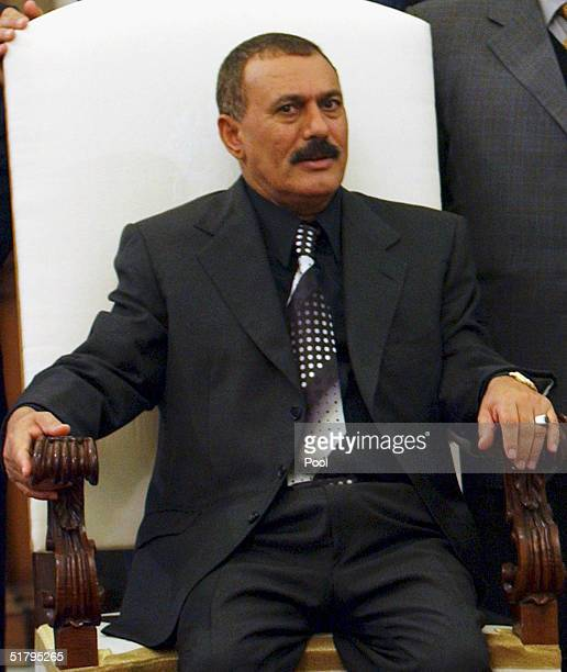 Yemeni President Ali Abdullah Saleh meets with Pope John Paul II during a private audience at the Vatican November 26 in Vatican City Italy