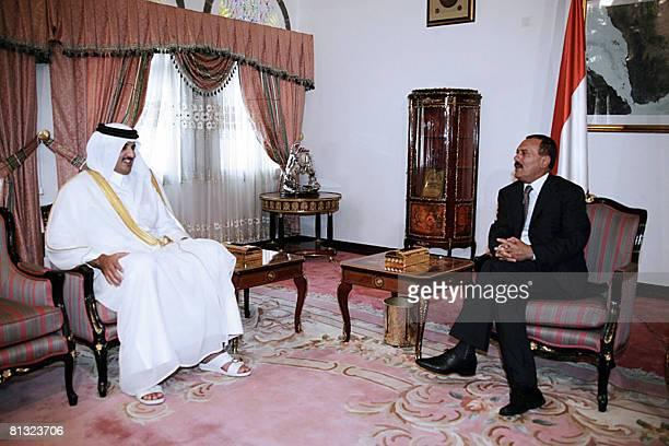 Yemeni president Ali Abdullah Saleh meets with Qatar's crown prince, Sheikh Tamim bin Hamad Khalifa Al Thani , in Sanaa on June 1, 2008. The Qatari...