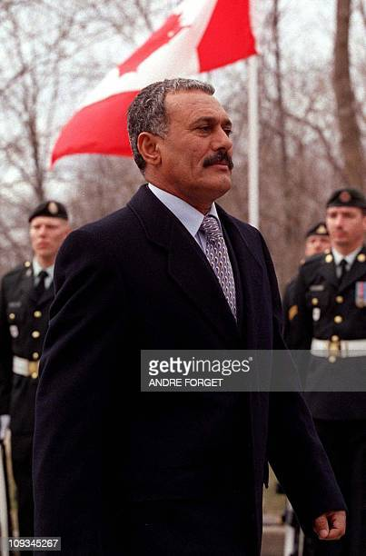 Yemeni President Ali Abdullah Saleh reviews troops of the Royal 22 Regiment of Canada at Rideau Hall in Canada's capital Ottaw 26 March 2000 Saleh...