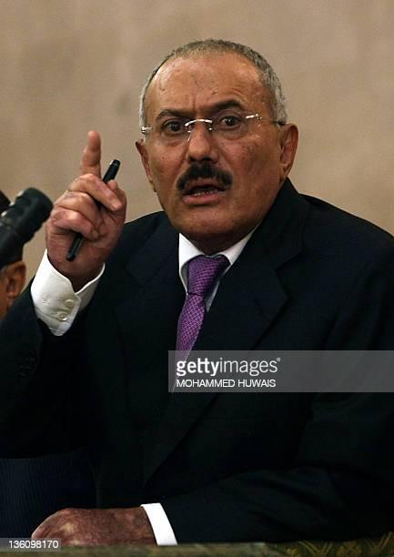 Yemeni President Ali Abdullah Saleh speaks on December 24 in the capital Sanaa as security forces and backers of Yemen's embattled President shoot...