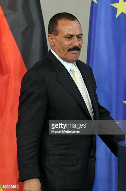 Yemeni President Ali Abdullah Saleh speaks to the press at the Chancellery on February 27 2008 in Berlin Germany Saleh is on a twoday official visit...