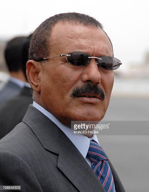 Yemeni President Ali Abdullah Saleh waits for the arrival of Emir of Qatar Sheikh Hamad bin Khalifa al-Thani at Sanaa airport, 09 May 2007. AFP...