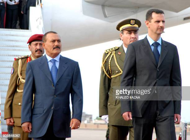 Yemeni president Ali Abdullah Saleh welcomes his Syrian counterpart Bashar AlAssad at the airport of the Yemeni southern port city of Aden 16...