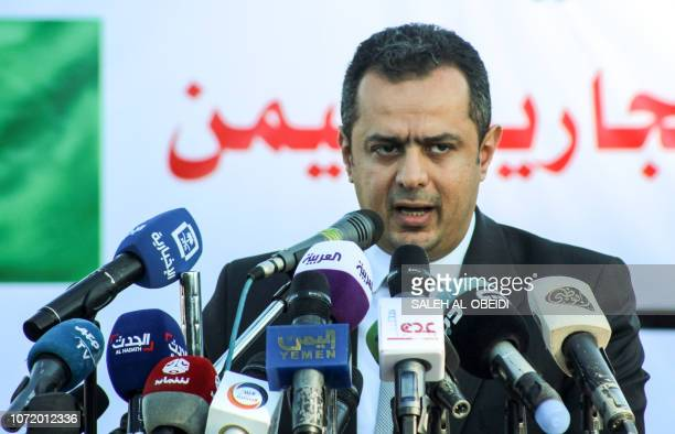 Yemeni Prime Minister Moeen Abdulmalik gives a press conference in the port of Aden on December 12 2018