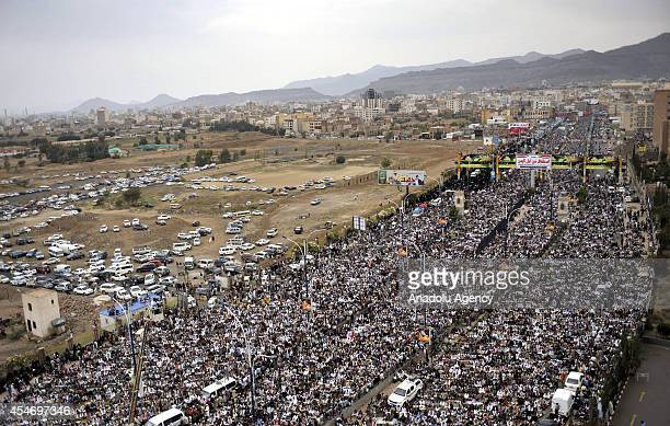 Yemeni prodemocracy demonstrators take part in a rally against Shiite Houthi group following the Friday prayer in Sittin Avenue in Sanaa Yemen on...