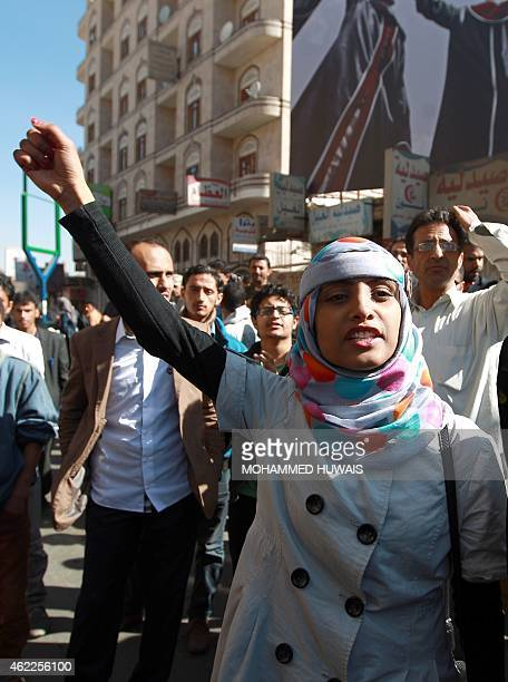 A Yemeni protester shouts slogans during a rally against the occupation of the capital by Shiite Huthi rebels on January 26 2015 in the capital Sanaa...