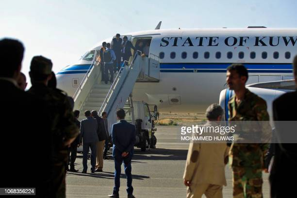 A Yemeni rebel delegation prepares to fly on a Kuwaiti plane accompanied by a UN peace envoy heading for highstakes talks in Sweden with the...