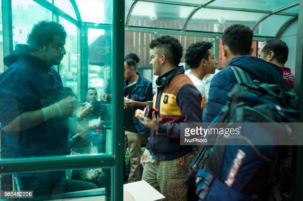 Yemeni refugee applicants are sharing food provided by Jeju citizens at a hotel in Jeju on June 27 2018 in Jeju island South Korea The South Korea's...