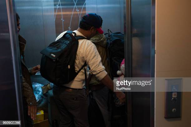 Yemeni refugees enter the hotel room at Jeju city in Jeju Island South Korea on July 08 2018 Yemen refugees who rented a small house with the help of...
