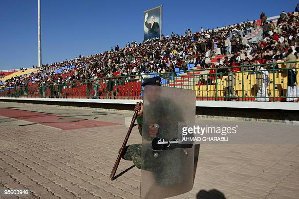 Yemeni riot policemen are deployed at Sanaa's stadium during the Asian Cup 2011 qualifying match between Japan and Yemen on January 6 2010 World Cup...