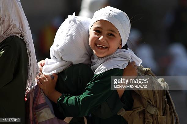 Yemeni schoolgirls play in a schoolyard on February 26 2015 in the capital Sanaa Yemen long on the front line in the fight against AlQaeda has been...