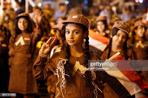 TOPSHOT Yemeni scouts take part in a parade to mark the anniversary of the 1962 revolution in the country's capital Sanaa on September 25 2017 / AFP...