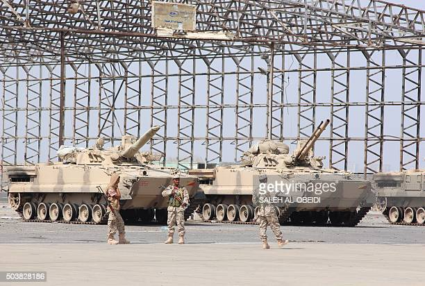 Yemeni security forces loyal to President Abedrabbo Mansour Hadi guard Aden's international airport after fighters from the Popular Resistance...