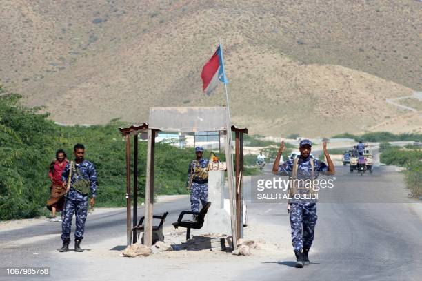 Yemeni security forces man a checkpoint in the former AlQaeda in the Arabian Peninsula jihadist's bastion of Mukalla in Yemen's coastal southern...