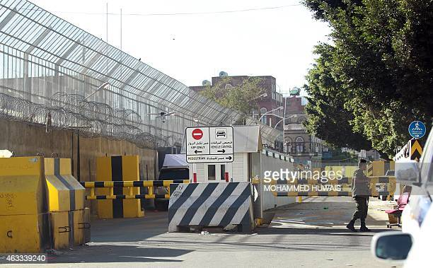 Yemeni security forces stand guard outside the French embassy in Sanaa on February 13 2015 The United States Britain and France cited security fears...