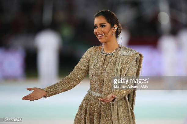 Yemeni Singer Balqees Ahmed Fathi performs at the Opening Ceremony ahead of the AFC Asian Cup Group A match between United Arab Emirates and Bahrain...