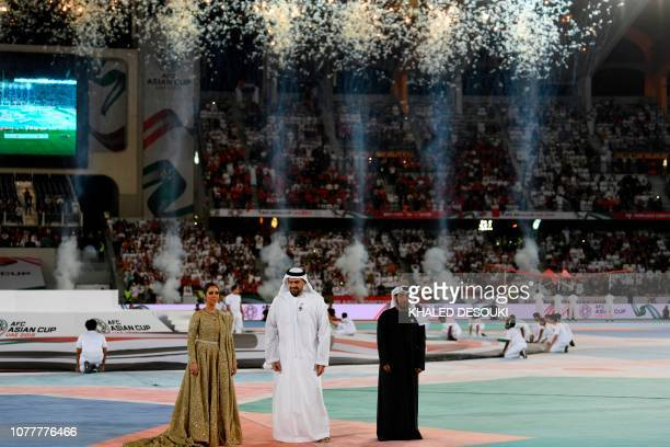 Yemeni singer Balqees Fathi Emirati singer Hussain Al Jassmi and Emirati singer Eida Al Menhali perform during the opening ceremony for the 2019 AFC...
