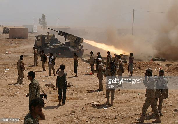 Yemeni soldiers stand near a rocket launching during a major offensive against AlQaeda in the Arabian Peninsula in the Maifaa region of Shabwa...