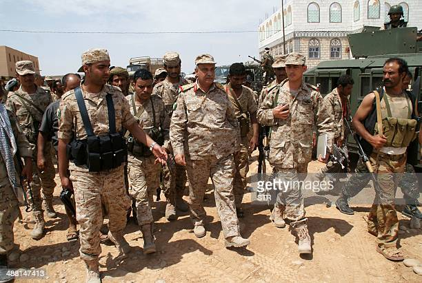 Yemeni soldiers walk in the Maifaa region of Shabwa province on May 4 2014 during a major offensive against AlQaeda in the Arabian Peninsula Yemen's...