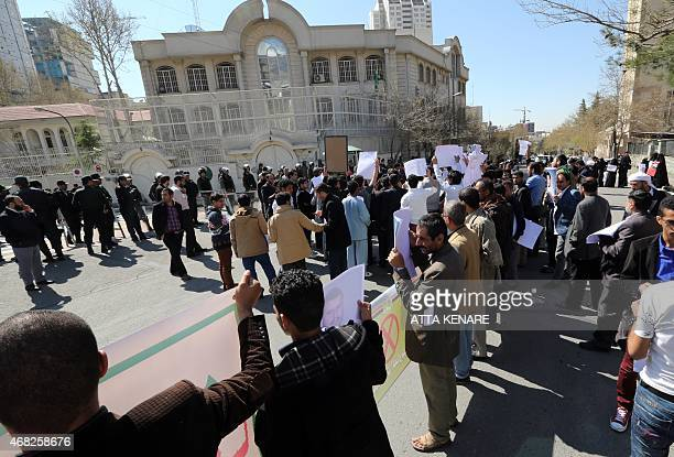 Yemeni students living in Iran take part in a demonstration in front of the Saudi embassy in Tehran on April 1 to protest against the Saudiled...