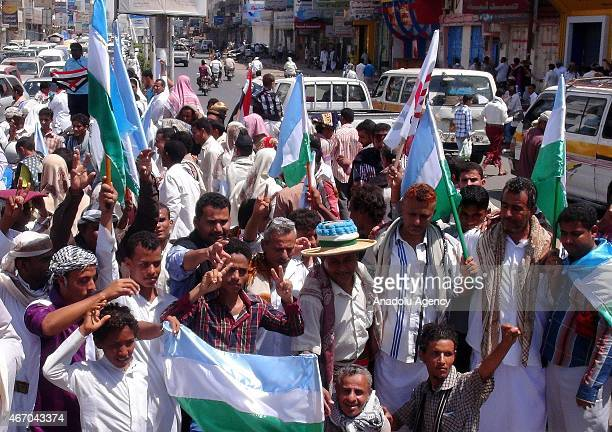 Yemeni supporters of 'Tehama Movement' shout slogans as they march through An Nahl street to protest the violence in the country following Friday...