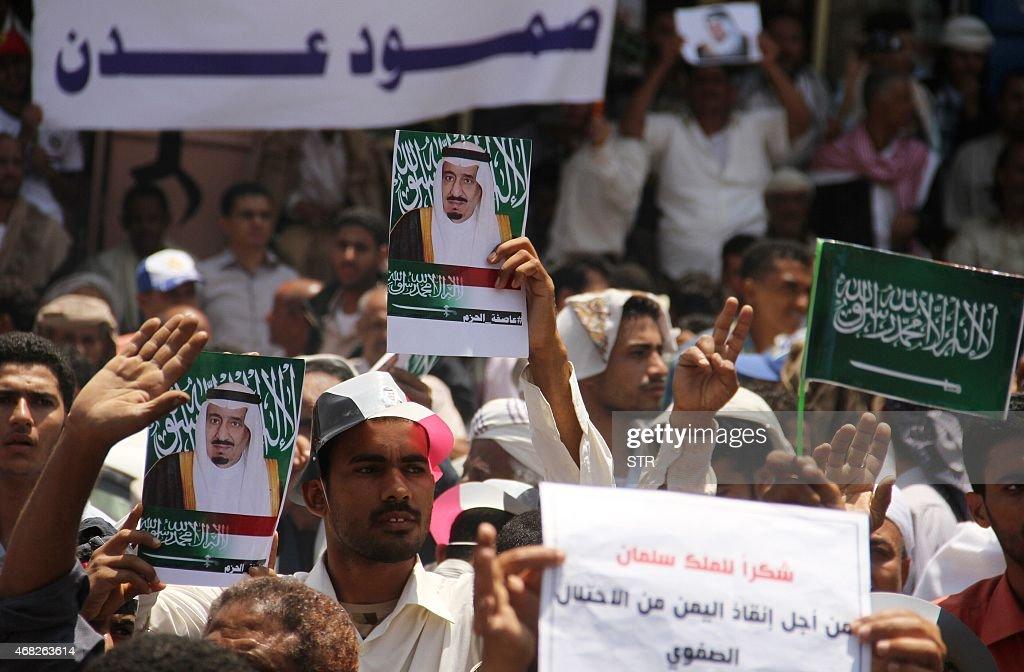 YEMEN-CONFLICT-SAUDI-DEMONSTRATION : News Photo