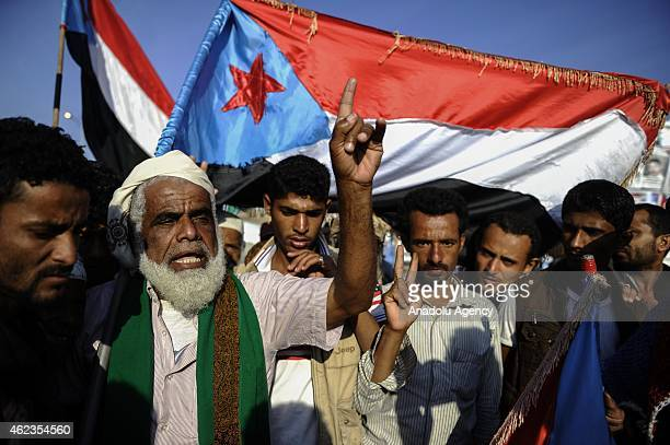 Yemeni supporters of the separatist movement take part in a demonstration within their ongoing protests with the flags representing the 'South Yemen'...