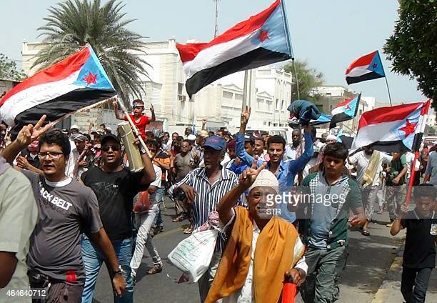 Yemeni supporters of the separatist Southern Movement gather in the southern city of Aden on February 27 2015 during a protest demanding for...